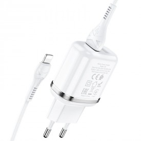HOCO N4 ASPIRING NETWORK CHARGER + LIGHTNING CABLE WHITE