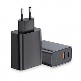 BASEUS SPEED PPS 2-PORT NETWORK CHARGER PD30W/QC3.0 BLACK