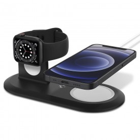 SPIGEN MAGFIT DUO APPLE MAGSAFE & APPLE WATCH CHARGER STAND BLACK