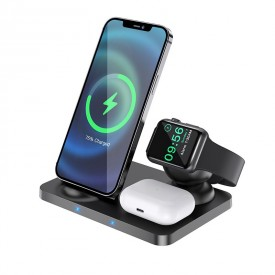 HOCO CW33 3IN1 WIRELESS CHARGER 15W BLACK