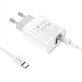 HOCO C80A NETWORK CHARGER PD20W/QC3.0 + TYPE-C CABLE WHITE